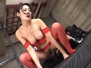 Asian beauty in sexy lingerie actively rides dog's stiff tool